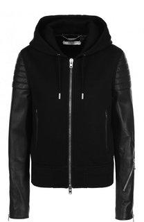 Куртка на молнии с кожаными рукавами и капюшоном Givenchy