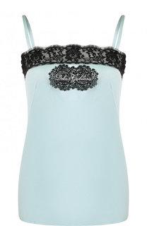 Шелковый топ с контрастной кружевной отделкой Dolce & Gabbana