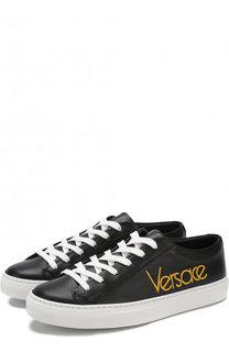 Кожаные кеды с логотипом бренда Versace