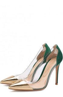 Комбинированные туфли Plexi на шпильке Gianvito Rossi