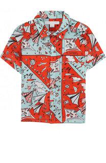 Льняная рубашка с принтом Burberry