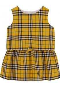 Хлопковое мини-платье с поясом на кулиске Burberry