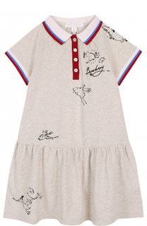 Хлопковое платье с принтом Burberry