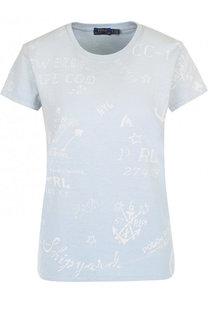 Хлопковая футболка с круглым вырезом и принтом Polo Ralph Lauren