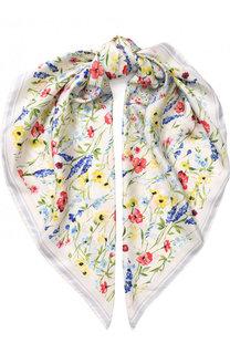 Шелковый платок с цветочным принтом Escada