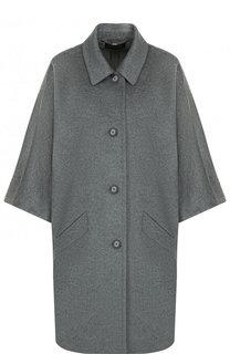 Однотонное шерстяное пальто с укороченным рукавом Escada