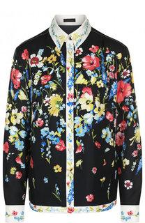 Шелковая блуза с цветочным принтом Escada
