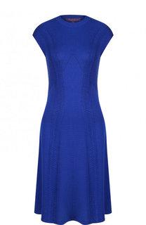 Однотонное платье фактурной вязки с круглым вырезом Ralph Lauren