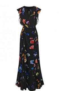 Шелковое платье-макси с оборками и принтом Escada