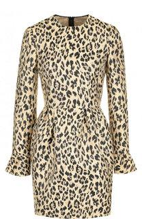 Приталенное мини-платье с леопардовым принтом Valentino