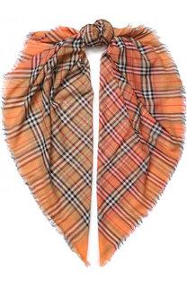 Хлопковый шарф в клетку с необработанным краем Burberry