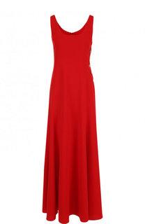Однотонное платье-макси с круглым вырезом и контрастными пуговицами Ralph Lauren