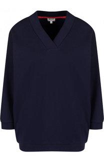 Хлопковый пуловер с V-образным вырезом и логотипом бренда Kenzo