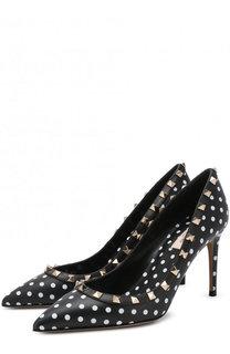 Кожаные туфли Valentino Garavani Rockstud Polka Dot на шпильке Valentino