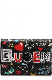 Кожаное портмоне с принтом и тиснением Dauphine Dolce & Gabbana