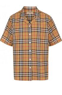 Хлопковая блуза с коротким рукавом в клетку Burberry