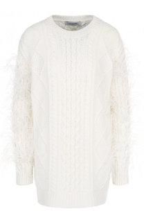 Шерстяной пуловер фактурной вязки с перьевой отделкой Valentino