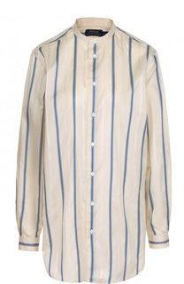 Шелковая блуза с воротником-стойкой в полоску Polo Ralph Lauren