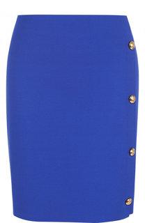 Однотонная мини-юбка с контрастными пуговицами Ralph Lauren