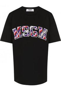 Хлопковая футболка с круглым вырезом и логотипом бренда MSGM