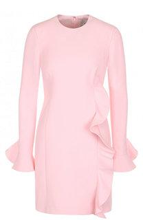 Однотонное мини-платье из смеси шерсти и шелка с оборкой Valentino