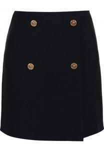 Однотонная мини-юбка из смеси шерсти и шелка Versace