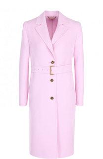 Однотонное шерстяное пальто с поясом Versace