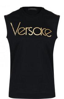 Хлопковый топ с круглым вырезом и логотипом бренда Versace