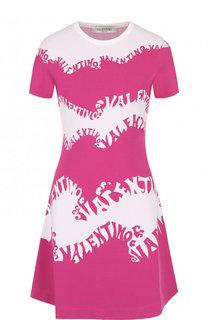 Мини-платье с круглым вырезом и логотипом бренда Valentino