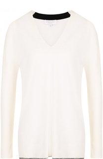 Пуловер с V-образным вырезом и контрастной отделкой Escada Sport