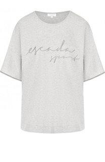 Хлопковая футболка с надписью и контрастной отделкой на рукаве Escada Sport