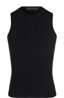 Однотонный топ фактурной вязки без рукавов Versace