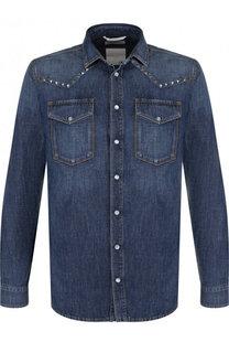 Джинсовая рубашка на кнопках с отделкой Valentino