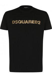 Хлопковая футболка с вышивкой пайетками Dsquared2
