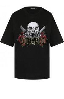 Хлопковая футболка с принтом и логотипом бренда Dsquared2