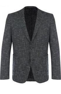 Однобортный пиджак из смеси шерсти и хлопка BOSS