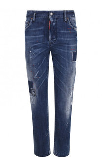 Укороченные джинсы прямого кроя с потертостями Dsquared2