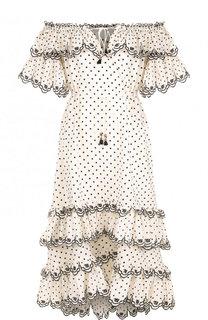 Льняное платье-макси с открытыми плечами и оборками Zimmermann