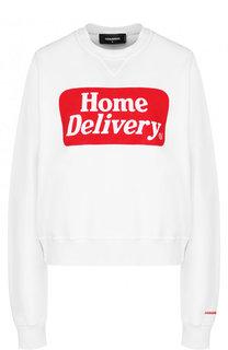 Хлопковый пуловер с круглым вырезом и надписью Dsquared2