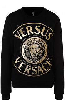 Хлопковый пуловер с логотипом бренда Versus Versace