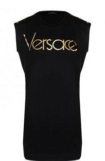 Удлиненный хлопковый топ с карманами и логотипом бренда Versace