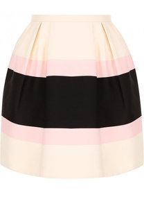 Мини-юбка из смеси шерсти и шелка в полоску Valentino