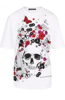 Хлопковая футболка с круглым вырезом и принтом Alexander McQueen
