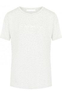 Однотонная футболка с круглым вырезом и надписью BOSS
