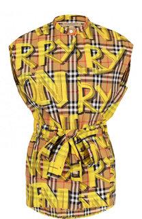 Хлопковая блуза с поясом и воротником-стойкой Burberry