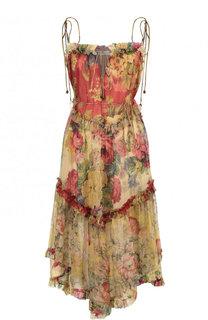Шелковое платье-миди с оборками и принтом Zimmermann