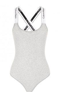 Хлопковое боди с логотипом бренда Calvin Klein Underwear