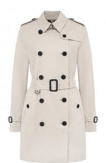Однотонное хлопковое пальто с поясом Burberry