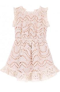 Кружевное платье из хлопка с поясом на кулиске Zimmermann