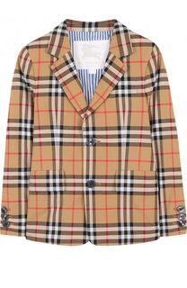 Однобортный пиджак из хлопка с принтом Burberry